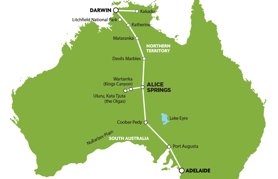 map green adelaide darwin tour package